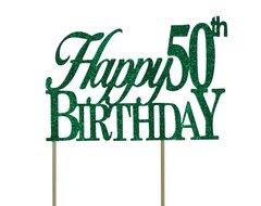 Green Happy 50th Birthday Cake Topper