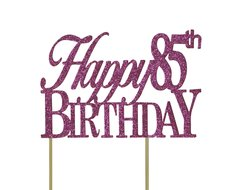 Pink Happy 85th Birthday Cake Topper