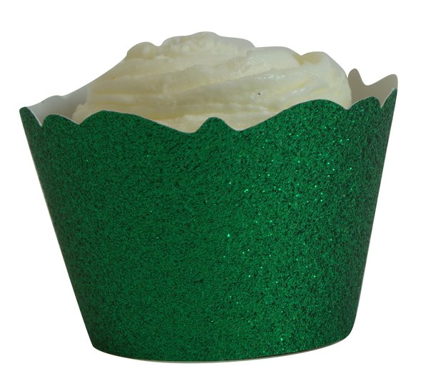 Green Glitter Cupcake Wrappers