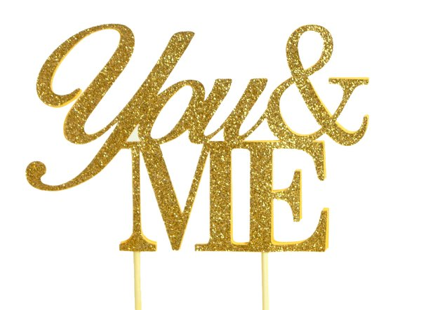 Gold You & Me Cake Topper