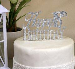Silver Happy 18th Birthday Cake Topper