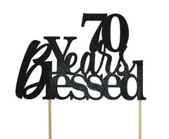 Black 70 Years Blessed Cake Topper