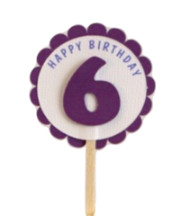 Shimmer Purple 6th Birthday Cupcake Toppers