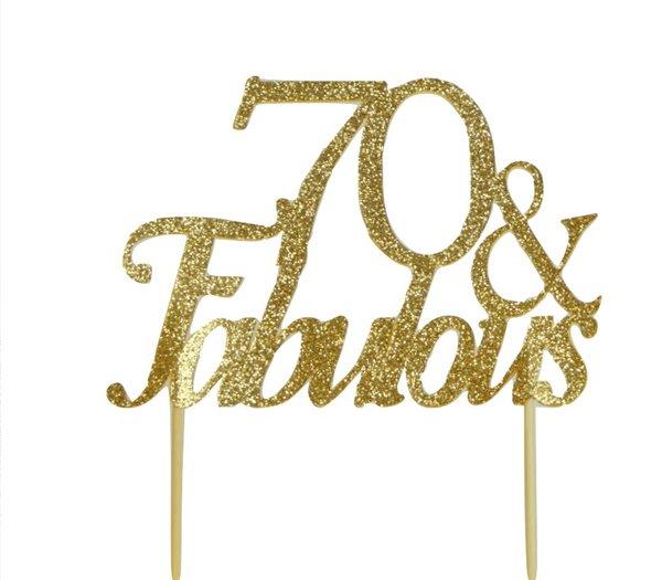 Gold 70 & Fabulous Cake Topper