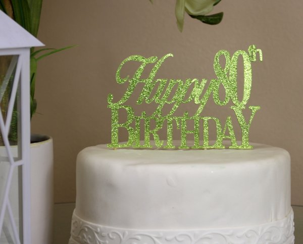 All About Details Lime Green Happy 80th Birthday Cake Topper All