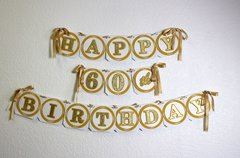 Gold Happy 60th Birthday Banner