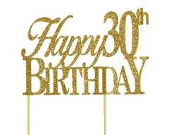 Gold Happy 30th Birthday Cake Topper