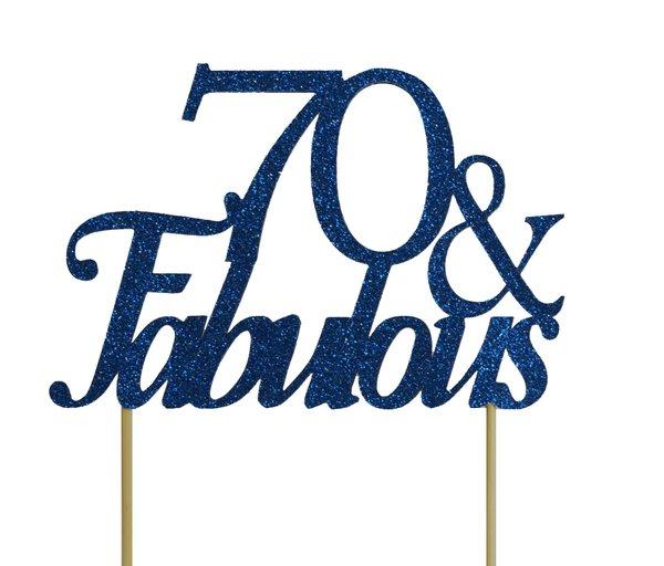 Blue 70 & Fabulous Cake Topper