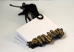 Black & Gold Merry Gift Tags, Set of 10 pcs