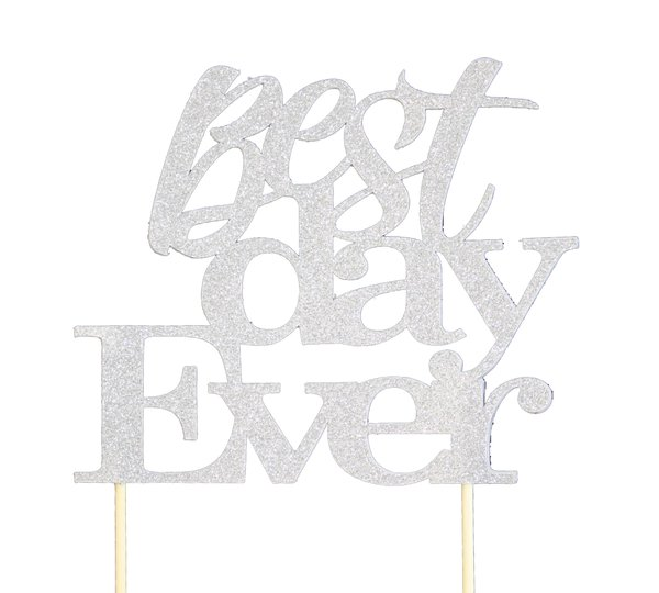 Silver Best Day Ever Cake Topper