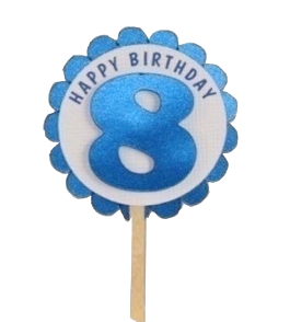 Shimmer Blue 8th Birthday Cupcake Toppers