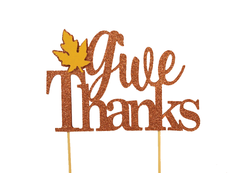 Copper Fall Theme Give-thanks Cake Topper, 1pc