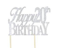 Silver Happy 20th Birthday Cake Topper