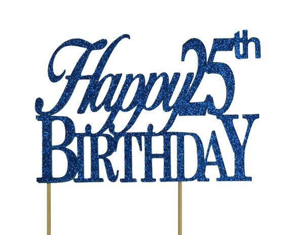 Blue Happy 25th Birthday Cake Topper