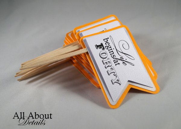 Melon Orange 40th Birthday Quotes Cupcake Toppers