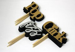 Black, Silver, & Gold Pop, Fizz, Clink Cupcake Toppers, 12 pcs