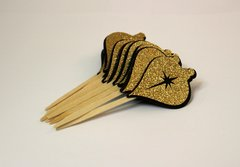 Black & Gold Christmas Ornaments Cupcake Toppers, 12pcs
