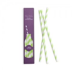 Stripes Paper Straws Apple Green 24pc