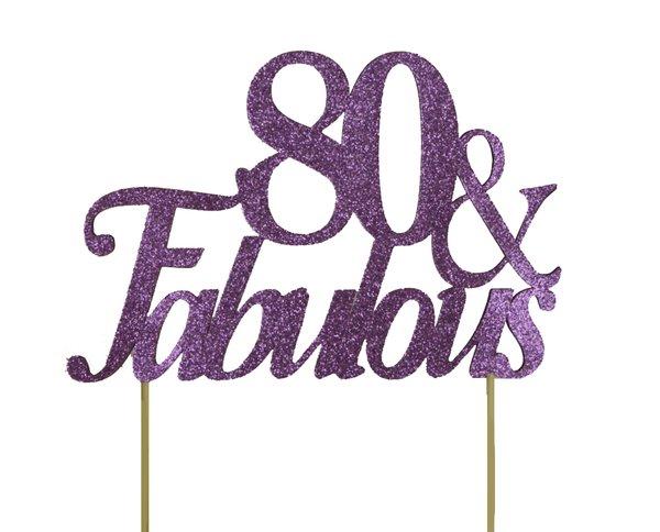 Purple 80 & Fabulous Cake Topper