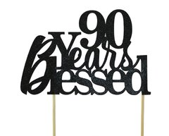 Black 90 Years Blessed Cake Topper
