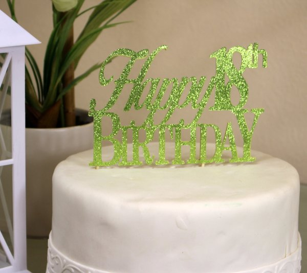 All About Details Lime Green Happy 18th Birthday Cake Topper All