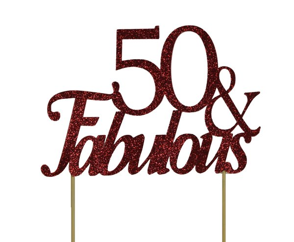 Red 50 & Fabulous Cake Topper