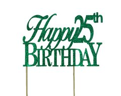Green Happy 25th Birthday Cake Topper