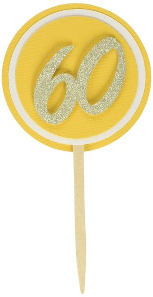 Gold 60 Cupcake Toppers