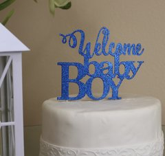 Blue Welcome Baby Boy Cake Topper