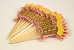Shimmer Pink & Gold Crown Theme 1 Cupcake Toppers