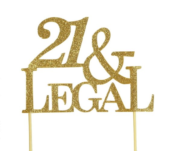 Gold 21 & Legal Cake Topper