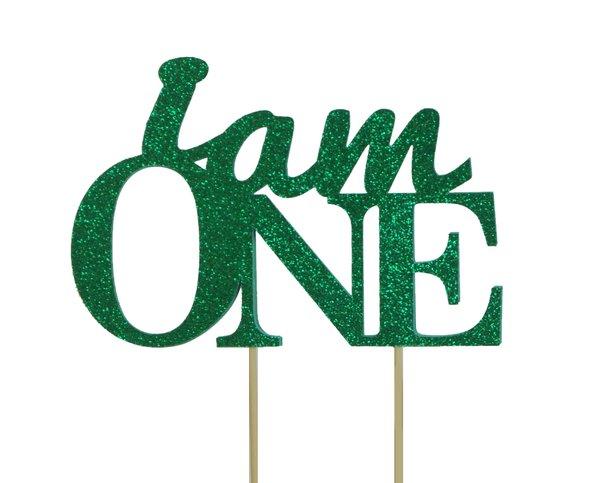 Green I Am One Cake Topper