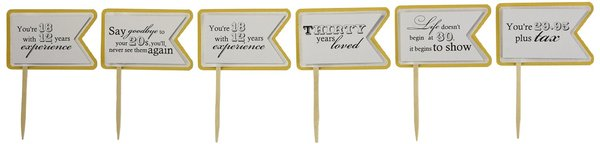 Gold Matte 30th Birthday Quotes Cupcake Toppers