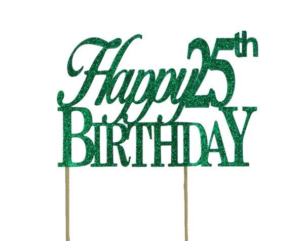 Green Happy 25th Birthday Cake Topper