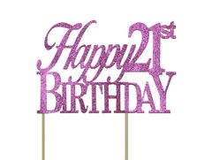 Pink Happy 21st Birthday Cake Topper