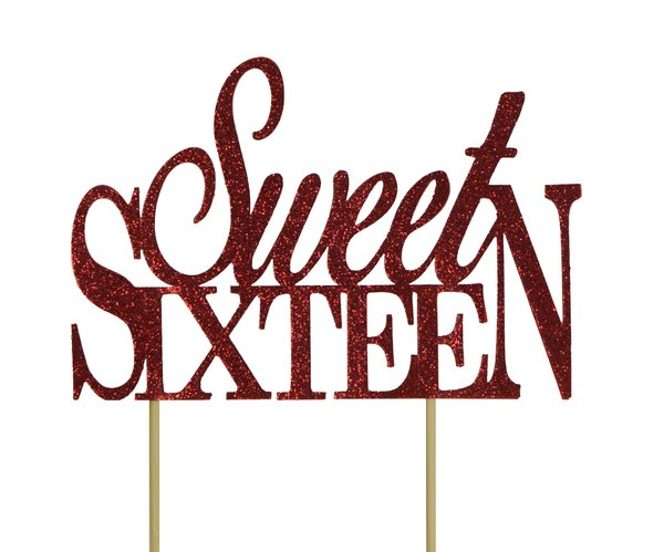 Red Sweet Sixteen Cake Topper