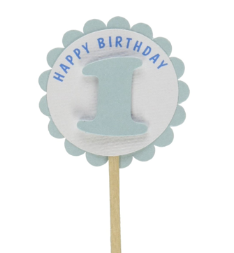 Shimmer Light Blue 1st Birthday Cupcake Toppers