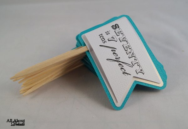 Teal 70th Birthday Quotes Cupcake Toppers