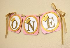 Shimmer Pink & Gold Princess Theme One High Chair Banner