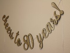 Black & Gold Cheers to 80 Years! Cursive Banner