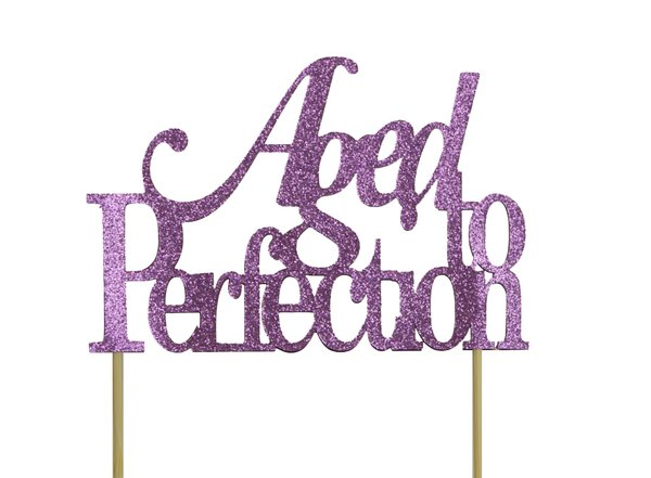 Purple Aged to Perfection Cake Topper
