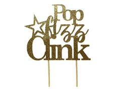 Gold Star Theme Pop Fizz Clink Cake Topper, 1 pc