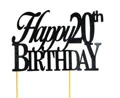 Black Happy 20th Birthday Cake Topper