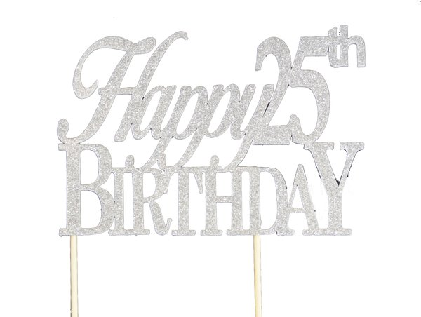 Silver Happy 25th Birthday Cake Topper