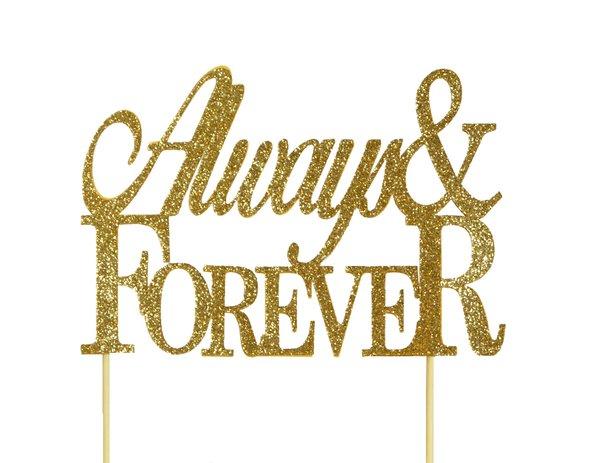 Gold Always & Forever Cake Topper