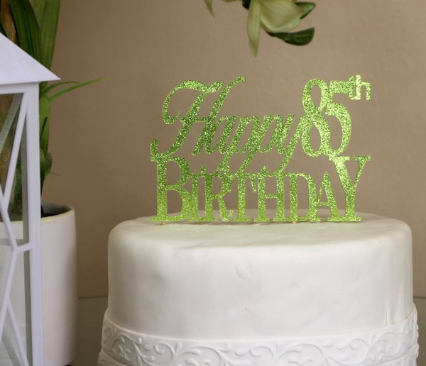 All About Details Lime Green Happy 85th Birthday Cake