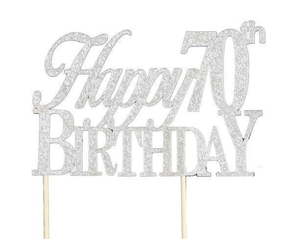 Silver Happy 70th Birthday Cake Topper
