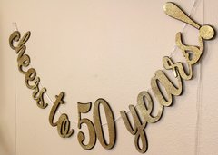 Black & Gold Cheers to 50 Years! Cursive Banner