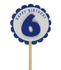 Shimmer Blue 6th Birthday Cupcake Toppers