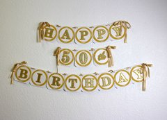 Gold Happy 50th Birthday Banner